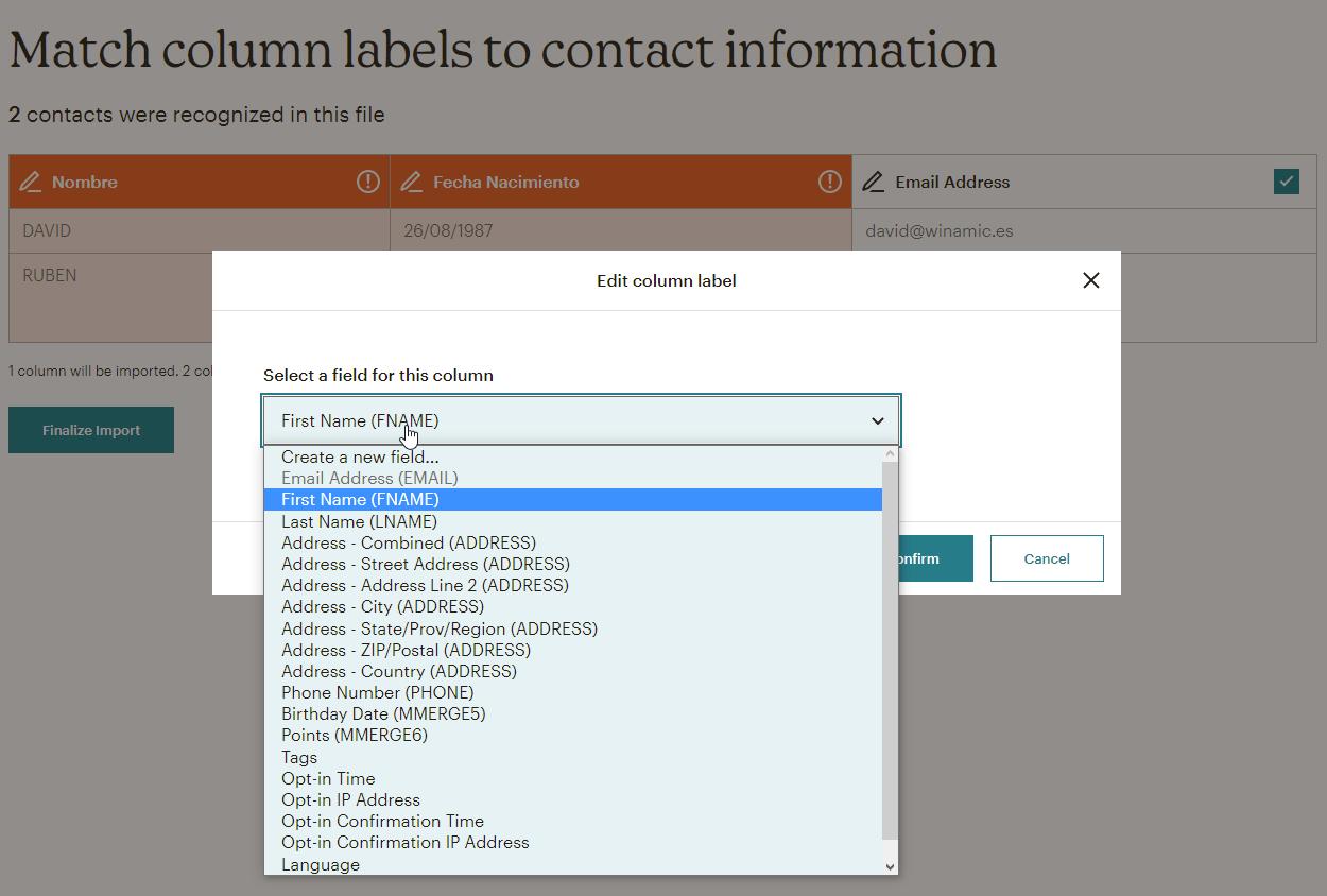 mailchimp import contacts-7